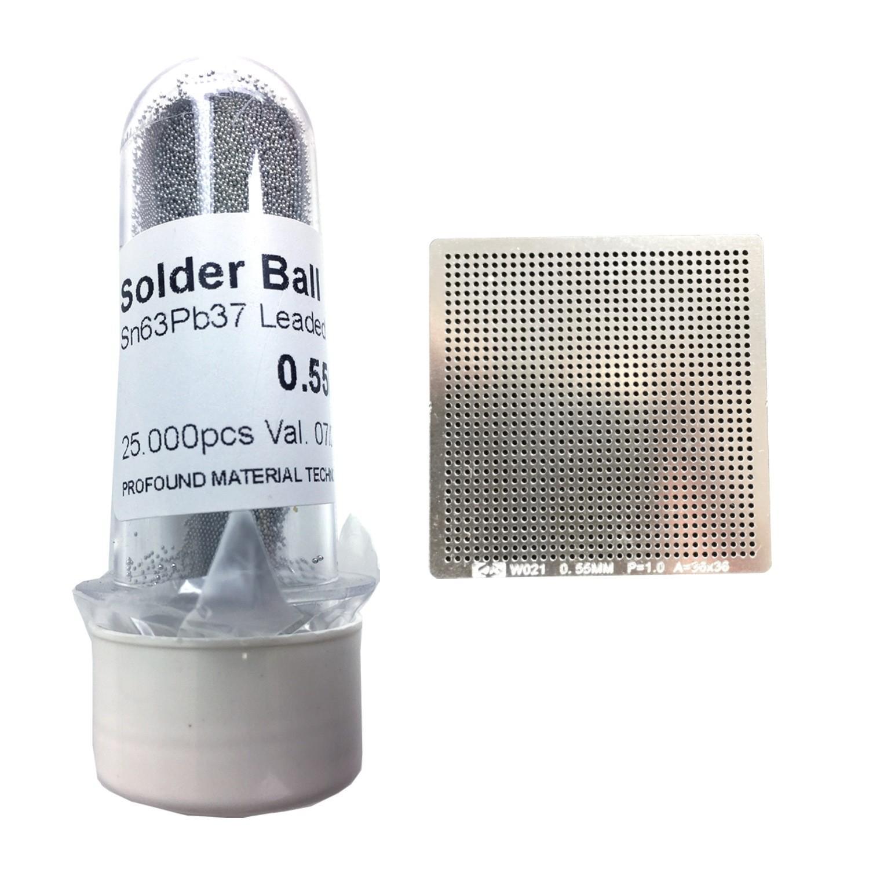 Kit Stencil Universal 0,55mm Solda Esfera 25k Bga Reballing