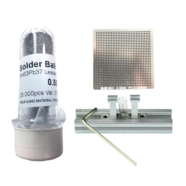 Kit Stencil Universal 0,55mm Solda Esfera 25k Bga Reballing + Suporte