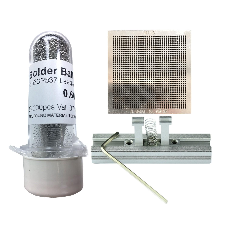 Kit Stencil Universal 0,6mm 0.9 Solda Esfera 25k Bga Reballing + Suporte