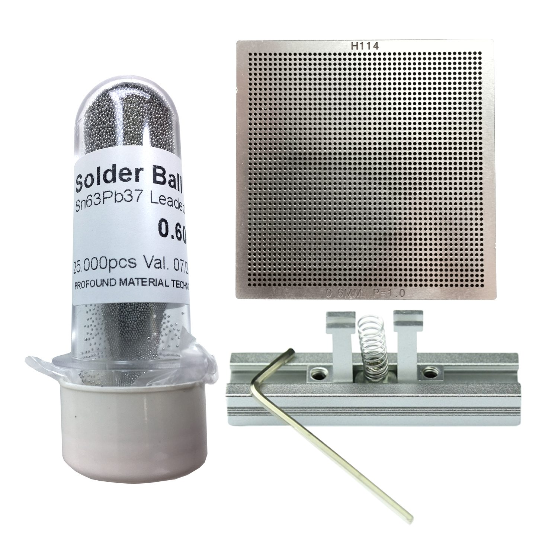 Kit Stencil Universal 0,6mm 1.0 Solda Esfera 25k Bga Reballing + Suporte