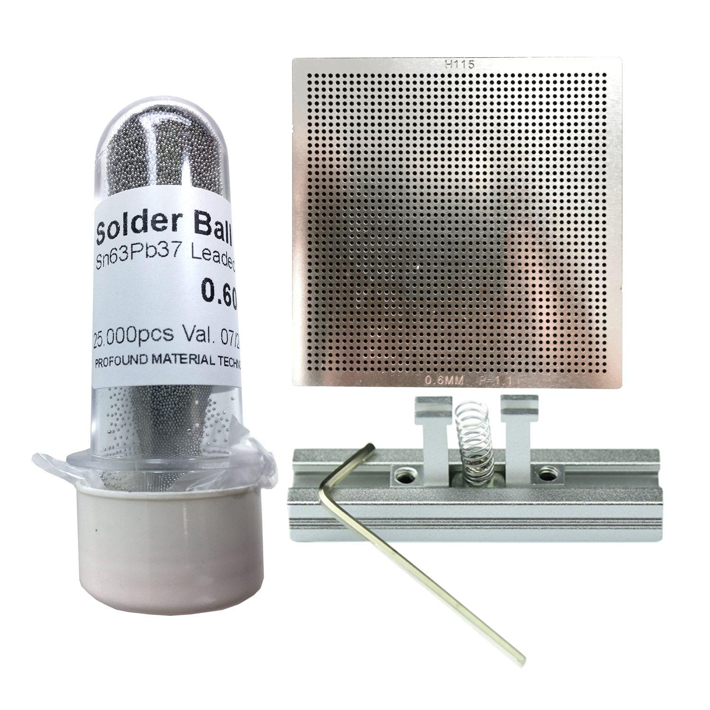 Kit Stencil Universal 0,6mm 1.1 Solda Esfera 25k Bga Reballing + Suporte