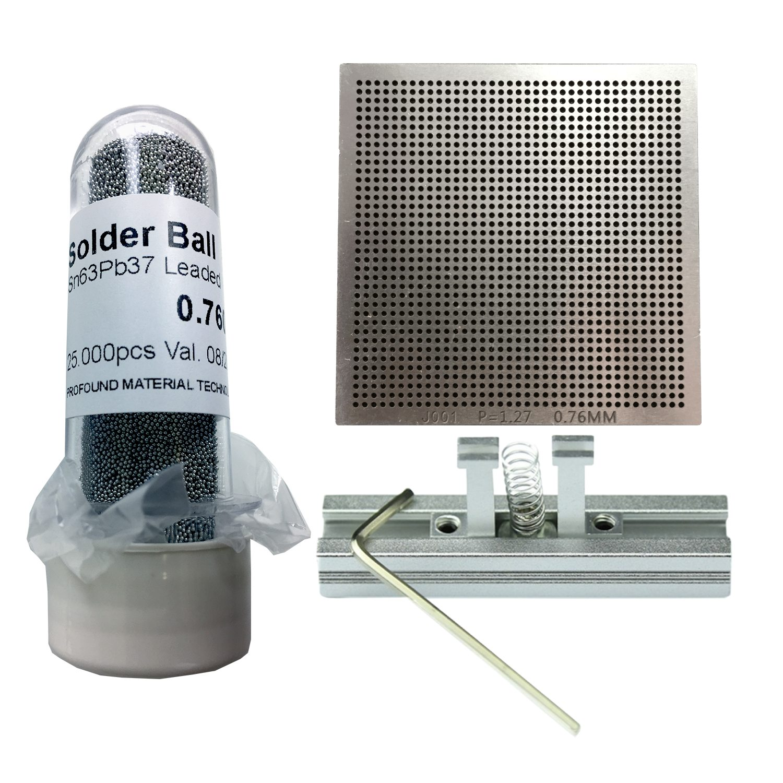 Kit Stencil Universal 0,76mm Solda Esfera 25k Bga Reballing + Suporte