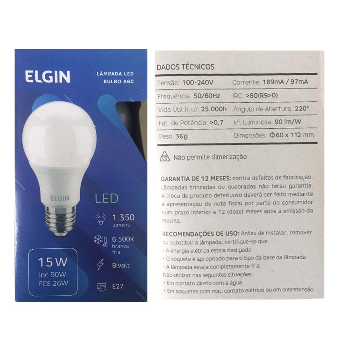 Lâmpada Elgin Led Bulbo A60 15w E27 6500K Bivolt