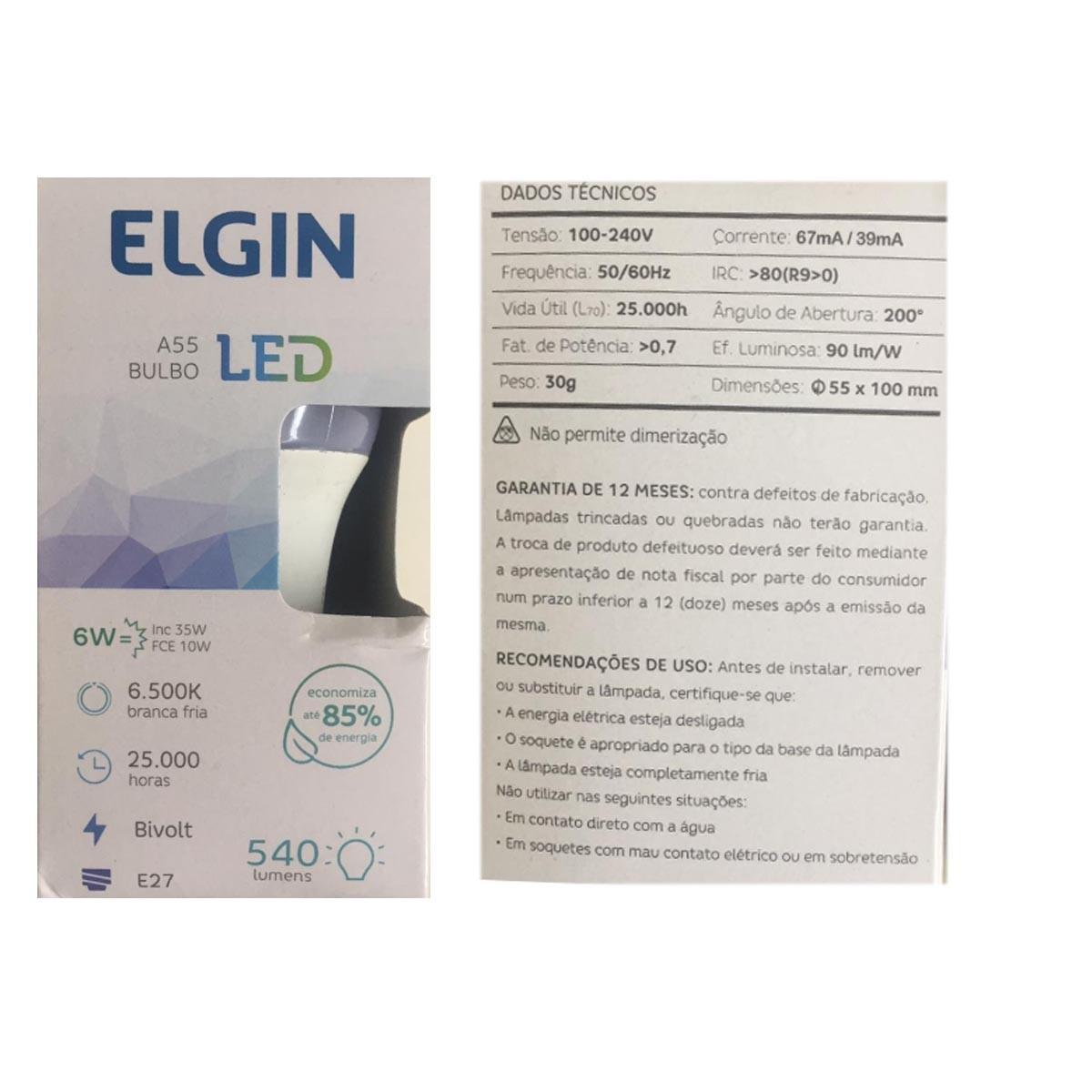 Lâmpada Elgin Led Bulbo A55 6w E27 6500K Bivolt