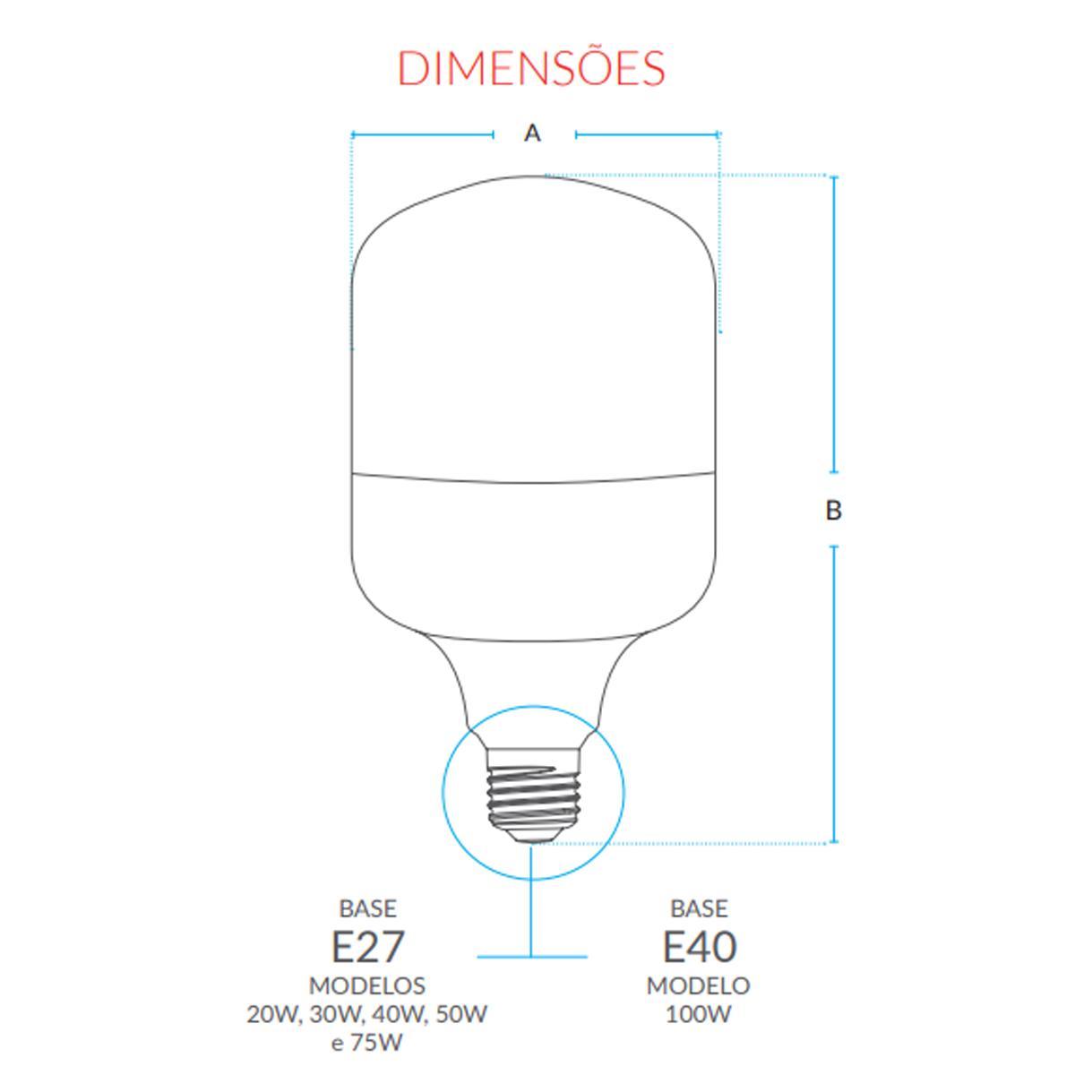 Lâmpada Led Bulbo HP 40W 6500K Soquete E27 Branco Bilvolt