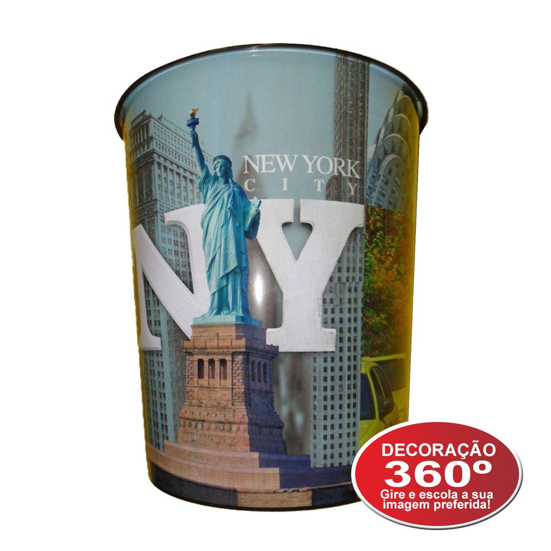 Lixeira Plástico 10 Litros Balde Cidades Mundo Escritório