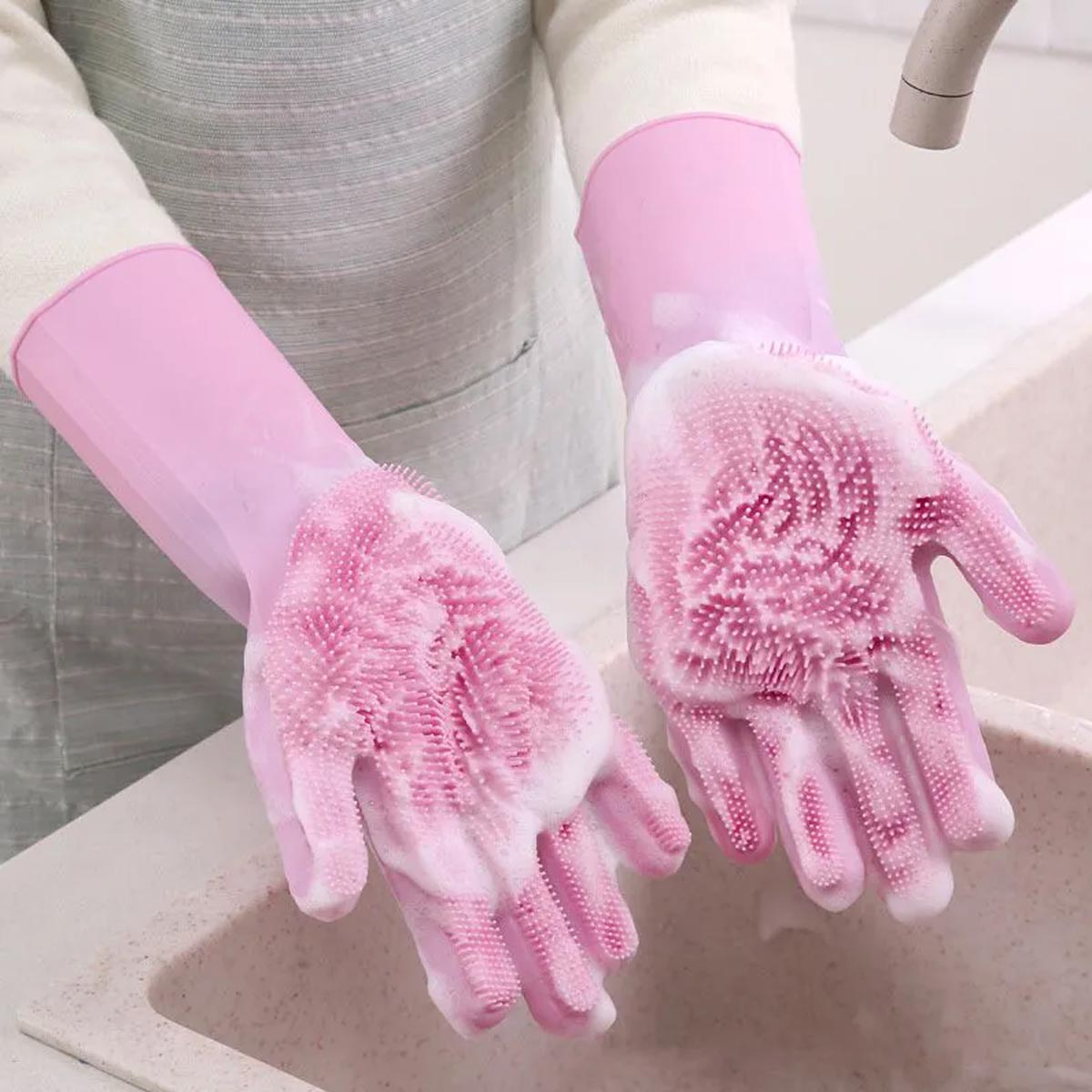 Luva De Silicone 123 Útil Para Lavar Louca E Limpeza Geral