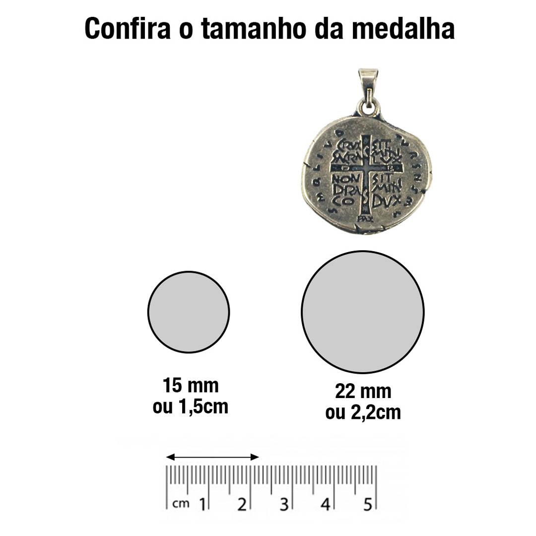 Medalha das Duas Cruzes Canção Nova Prata 22 mm