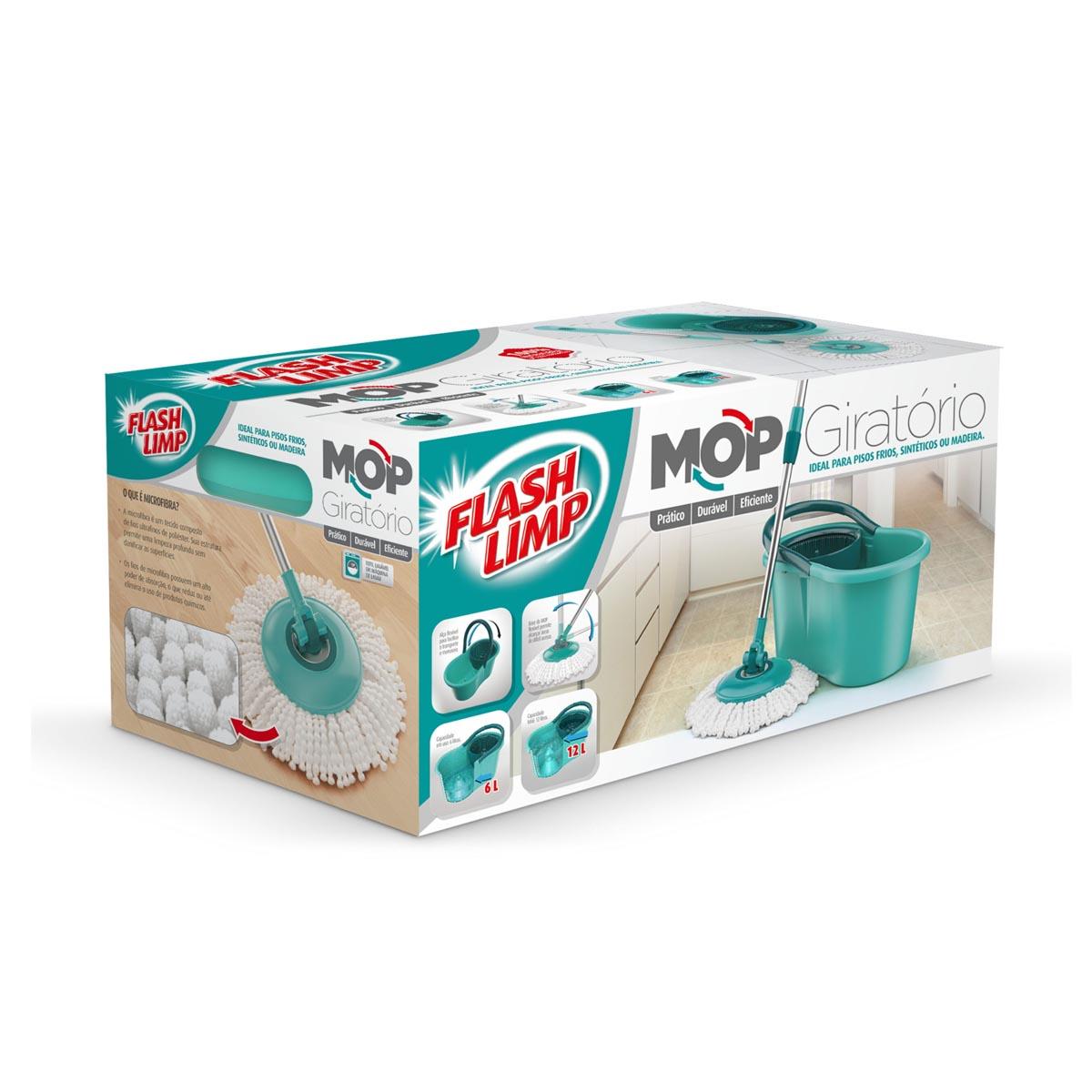Mop Giratório Flash Limp 12 Litros Verde Água MOP8209
