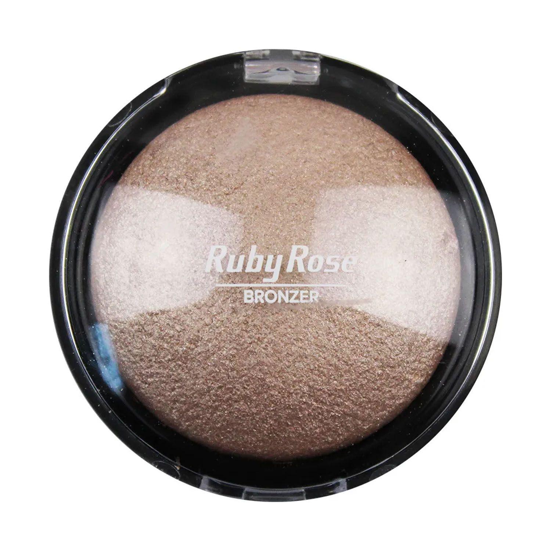 Pó Bronzeador Facial Fixador Iluminador Compacto Ruby Rose
