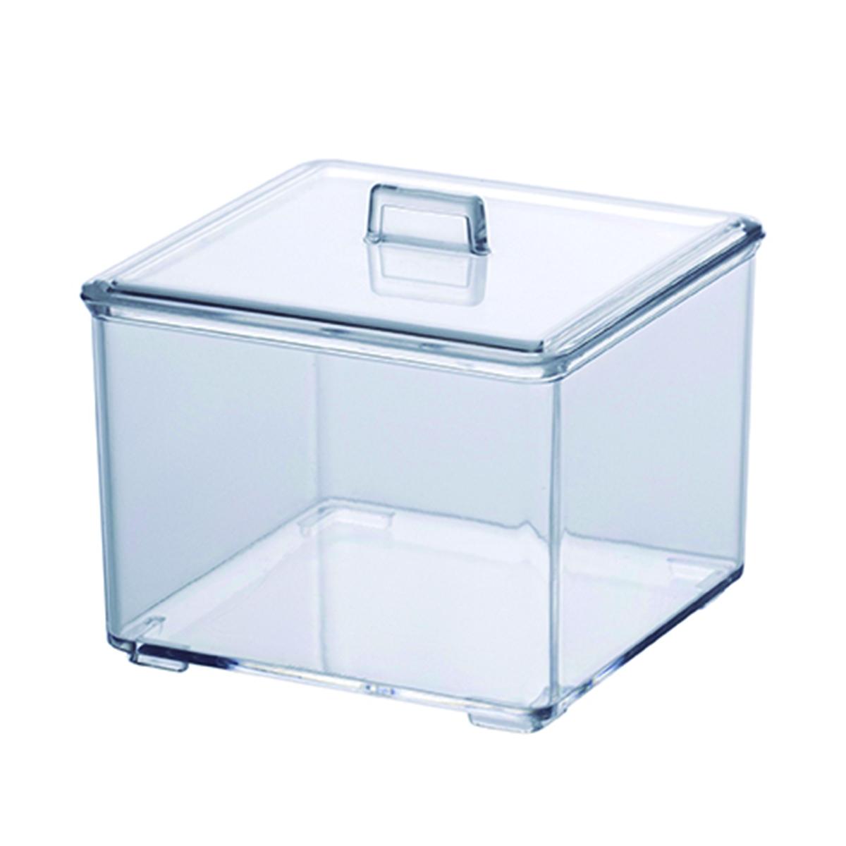 Porta Algodão Paramount Plásticos Quadrado 9,5 x 9,5 x 9,5 cm - 12