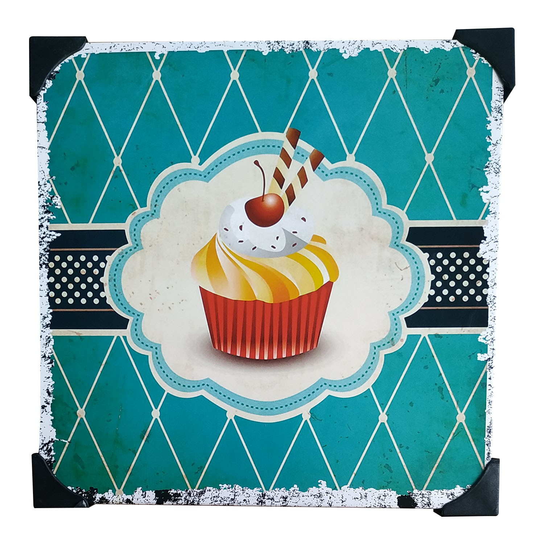 Quadro De Metal Placa Decorativa Metalizada 20cm x 20cm - Cupcake Amarelo