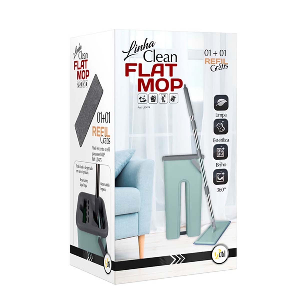 Rodo de Limpeza Flat Mop 123 Útil Com 1 Refil Grátis  - UD474