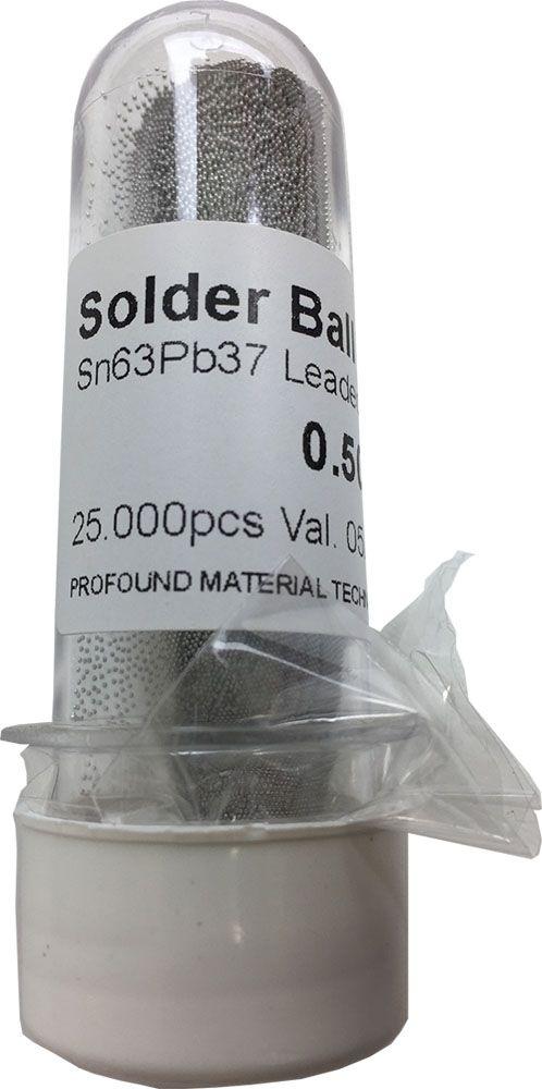 Solda Esfera BGA 0.2, 0.25, 0.3, 0.35, 0.4, 0.45, 0.5, 0.55, 0.60, 0.65, 0.76 25mil 25k Sn63 Pb37 (Com Chumbo)