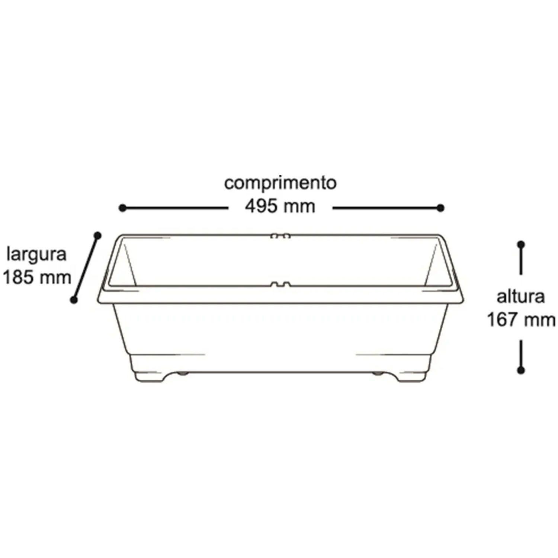 Vaso Jardineira Plástico Horta Preta Retangular - 25297