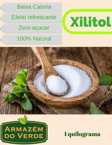 Combo Com 1kg De Adoçante Xilitol + 1kg Farinha De Amendoas Natural Sem Pele Produto Importado A Granel