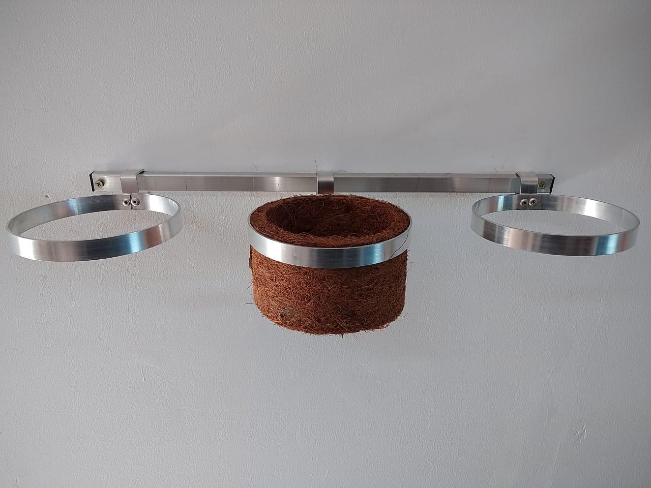 Kit Para Jardim Vertical Com 03 Suportes Em Alumínio Natural 14 cm de diâmetro