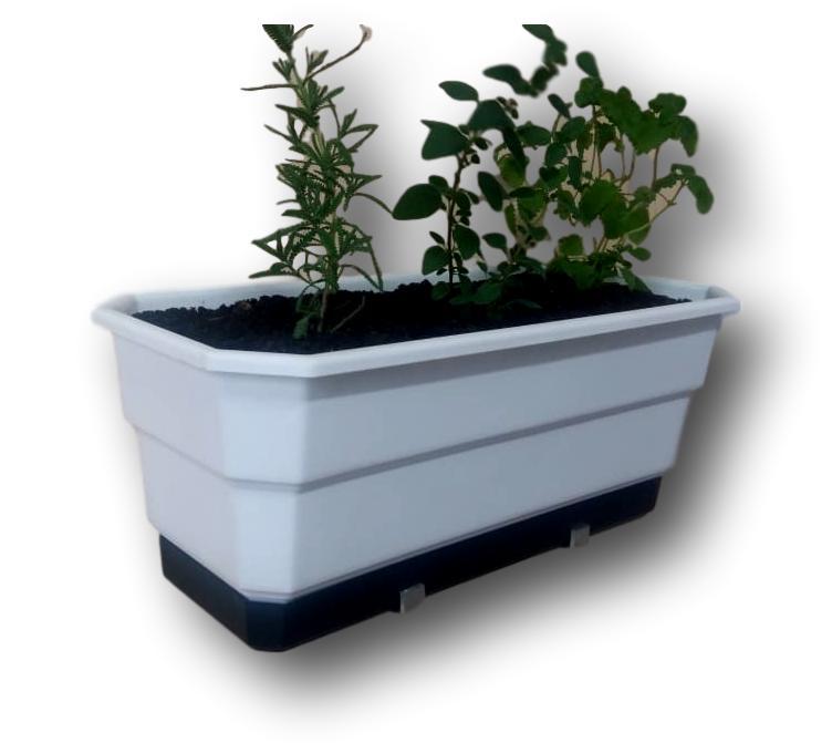 Jardineira Floreira Anti-Dengue e Auto Irrigável  50 cm Com Suporte Em Alumínio Incluso