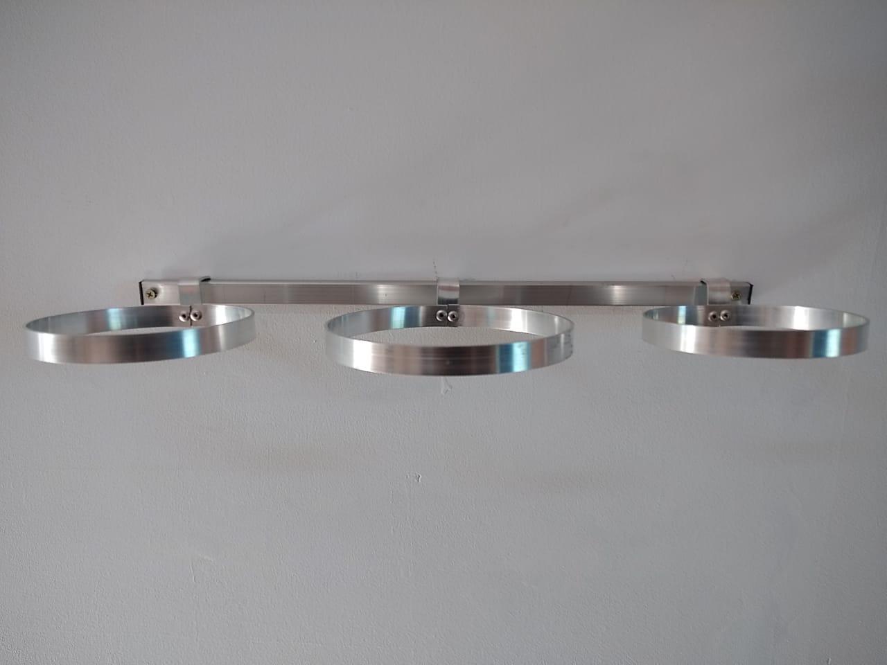 Kit Para Jardim Vertical Com 03 Suportes Em Alumínio Natural 12 cm de diâmetro