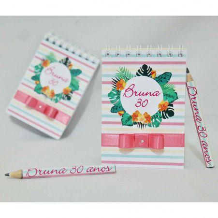 Lembrancinha de Aniversário - Bloquinho de Anotações com Mini Lápis Personalizado