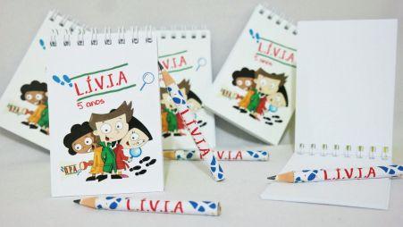 Lembrancinha Infantil - Bloquinho de Anotações DPA Personalizado com Mini Lápis
