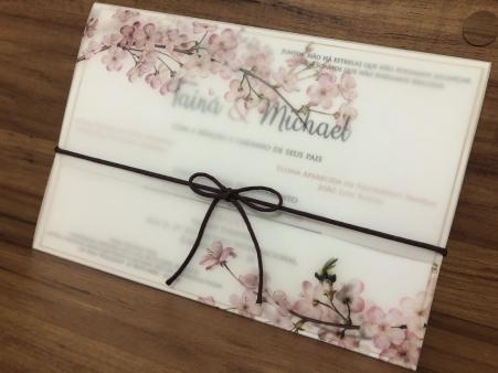 Convite de Casamento em Papel Vegetal com Flores de Cerejeiras