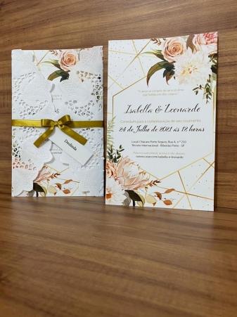 Convite de Casamento Papel Rendado