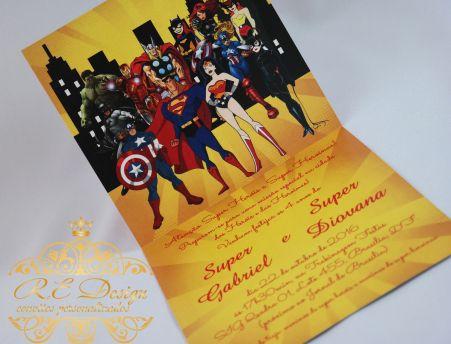 Convite Infantil Liga da Justiça 3D