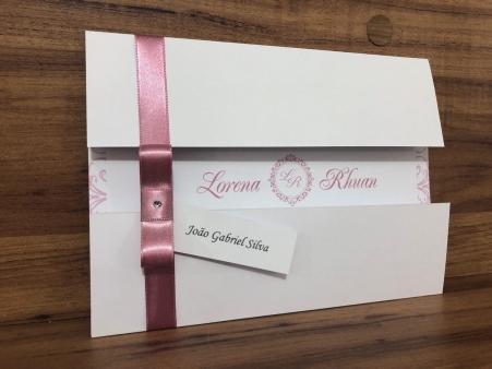 Convite para Casamento Nude com Envelope