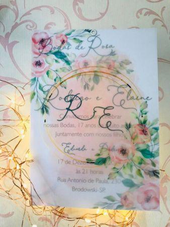 Convite para Casamento Papel Vegetal