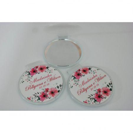 Lembrancinha de Casamento - Espelho de Bolsa Personalizado