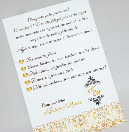 Tags para Mesa Casamento