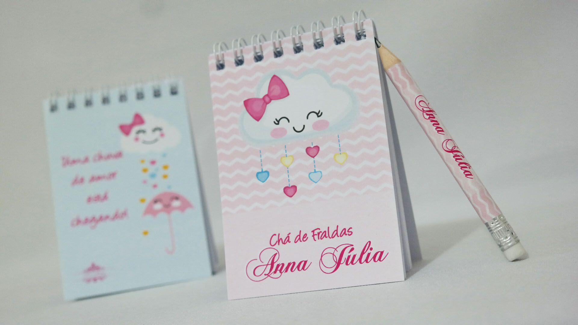 Lembrancinha Infantil Chuva de Amor - Bloquinho de Anotações com Mini Lápis