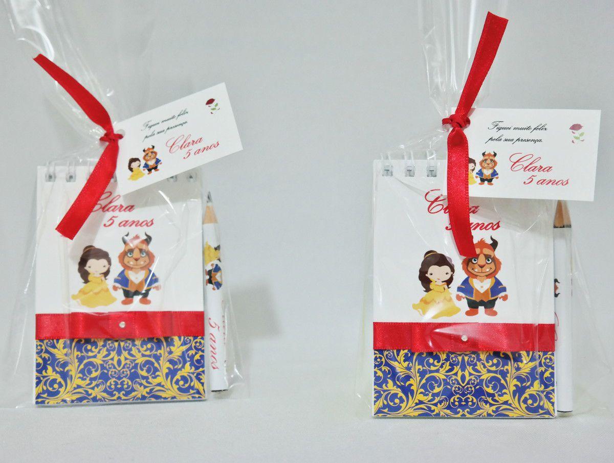 Lembrancinha Infantil - Bloquinho de Anotações a Bela e a Fera com Mini Lápis Personalizado