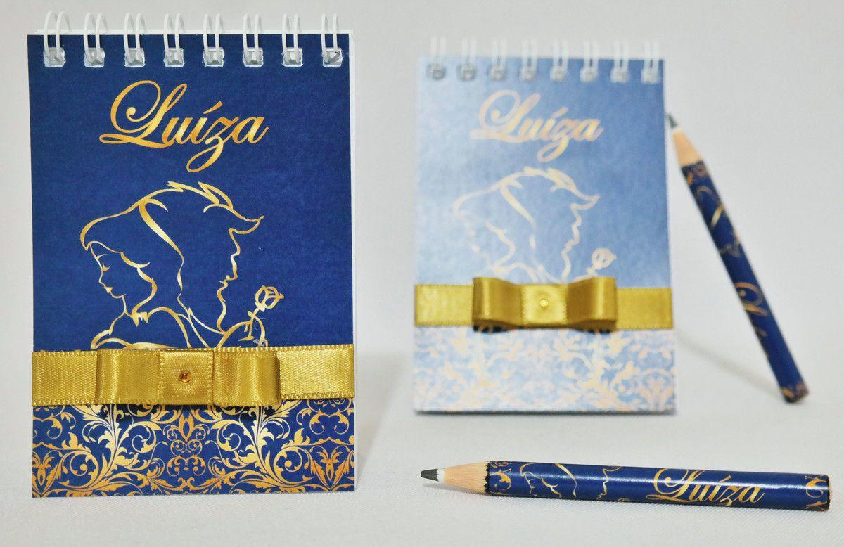 Lembrancinha de 15 anos - Bloquinho de Anotações Bela e a Fera com Mini Lápis Personalizado