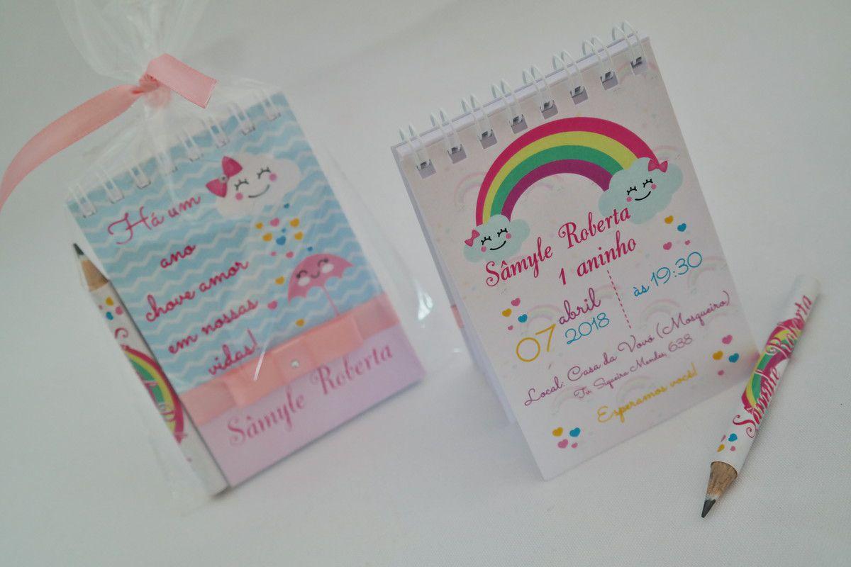 Lembrancinha Infantil - Bloquinho de Anotações Chuva de Amor com Mini Lápis Personalizado