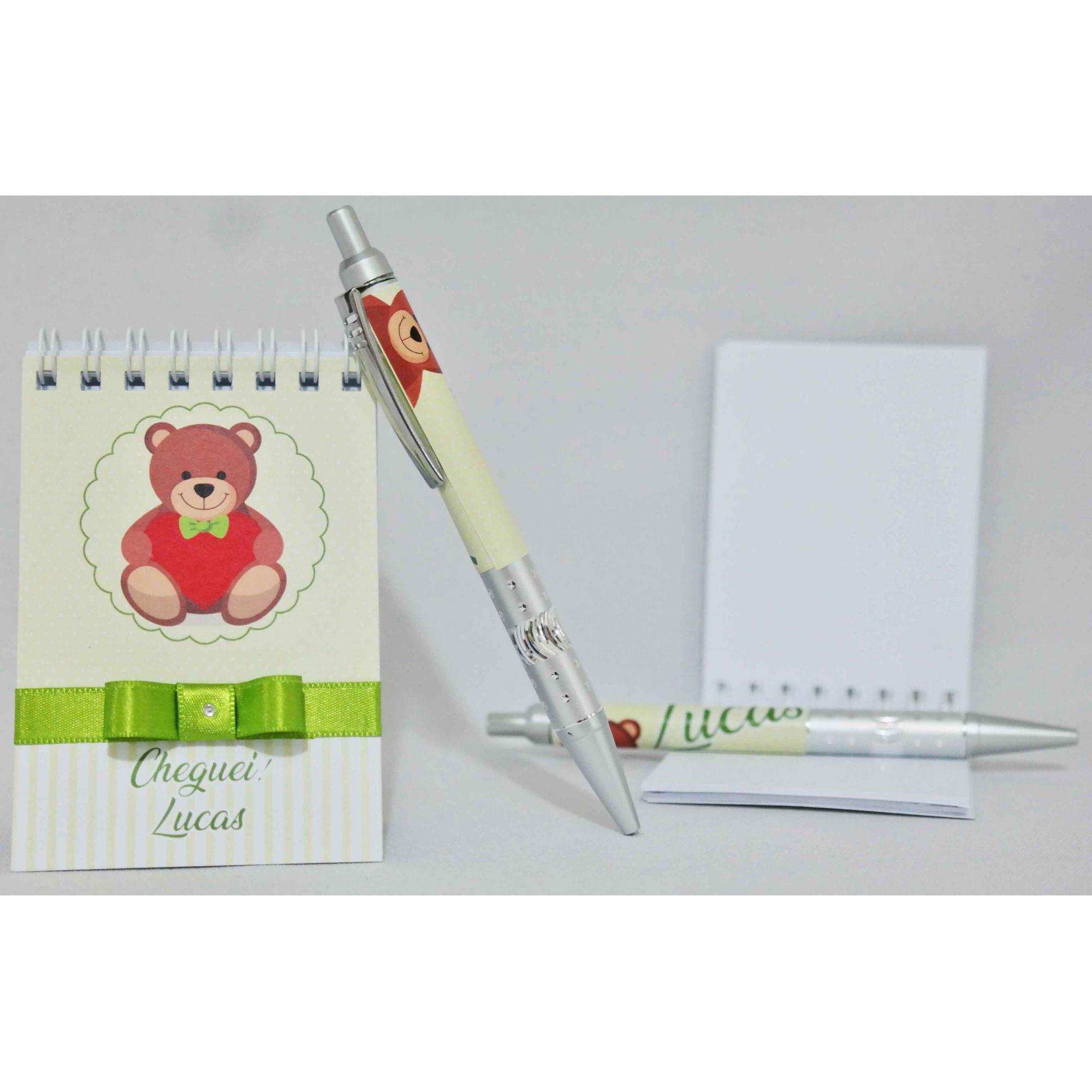 Lembrancinha Infantil - Bloquinho de Anotações com Caneta Personalizado