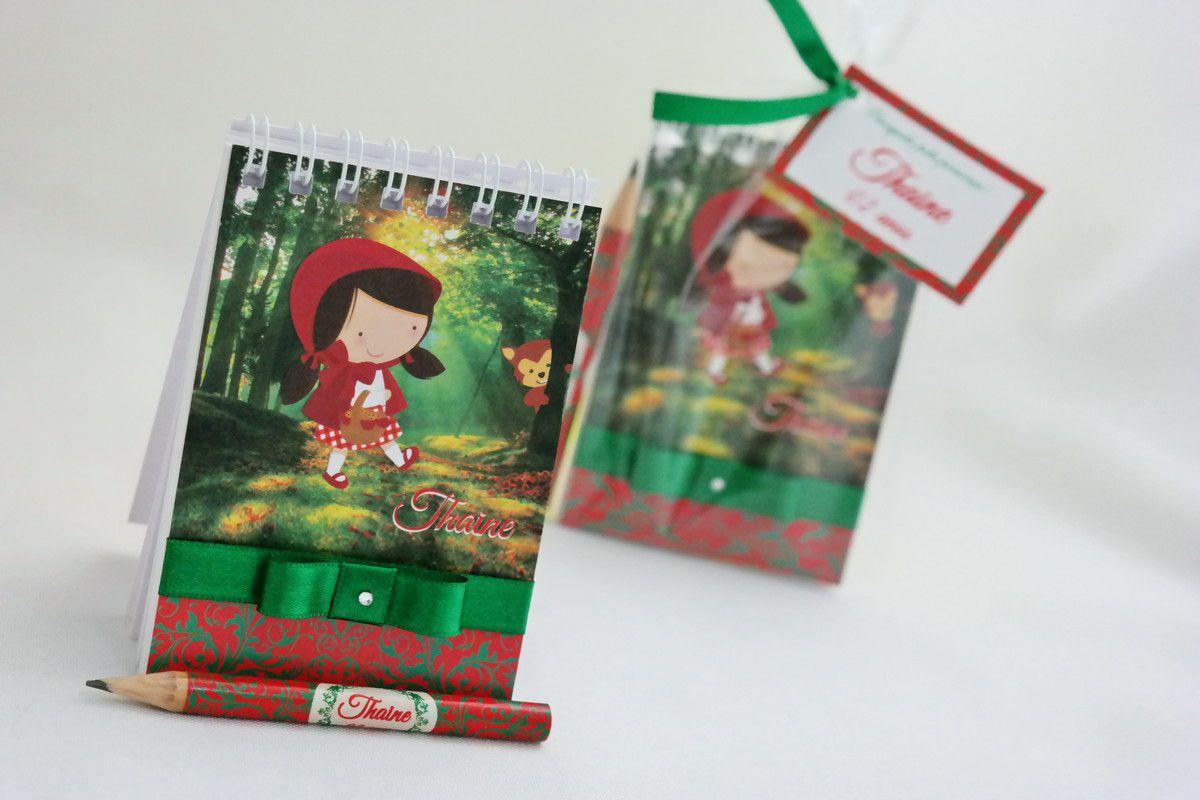 Lembrancinha Infantil - Bloquinho de Anotações Chapeuzinho Vermelho com Mini Lápis Personalizado