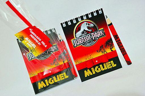 Lembrancinha Infantil - Bloquinho de Anotações Jurassic Park com Mini Lápis Personalizado