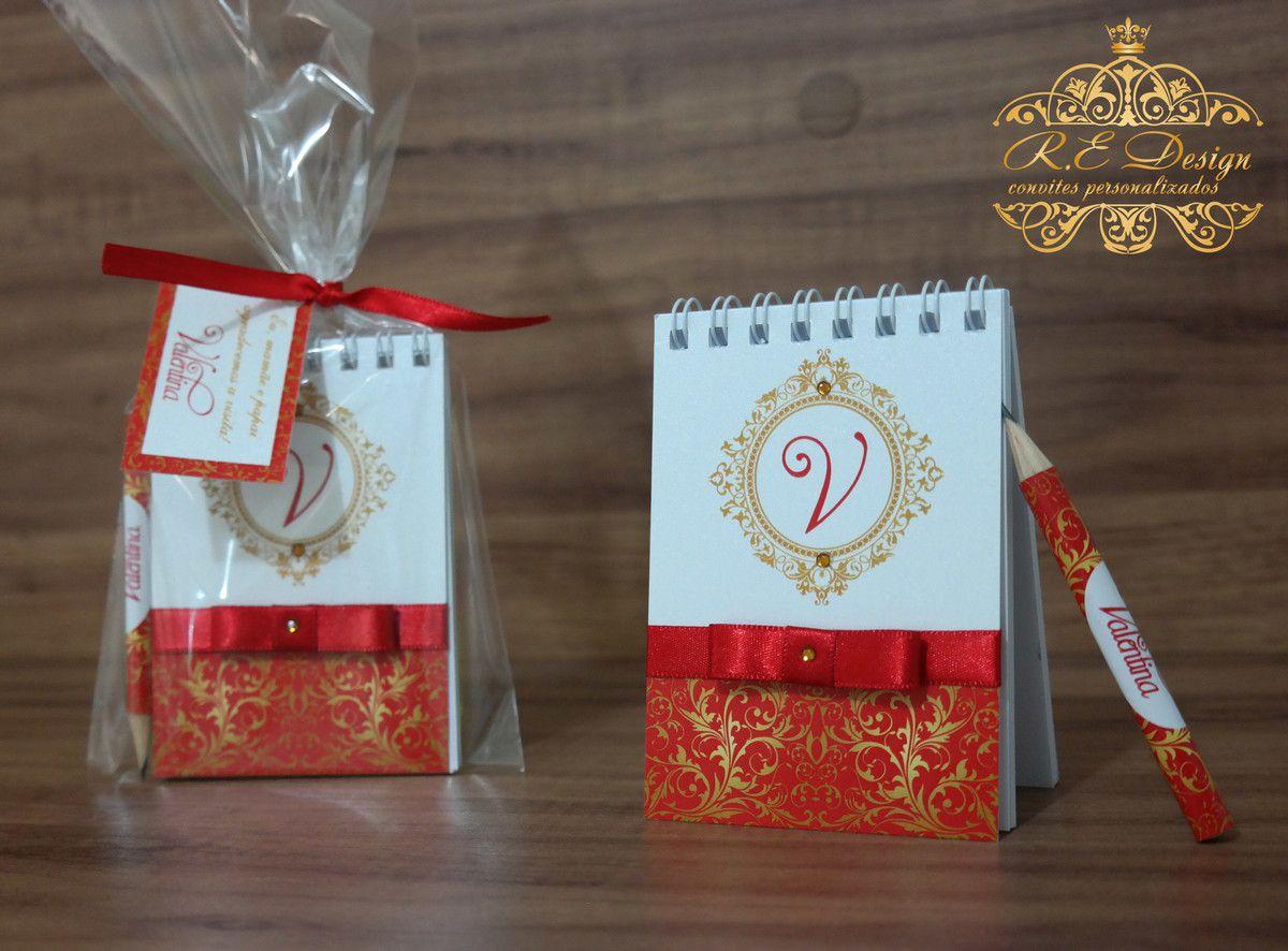 Lembrancinha de 15 anos - Bloquinho de Anotações com Mini Lápis Personalizado