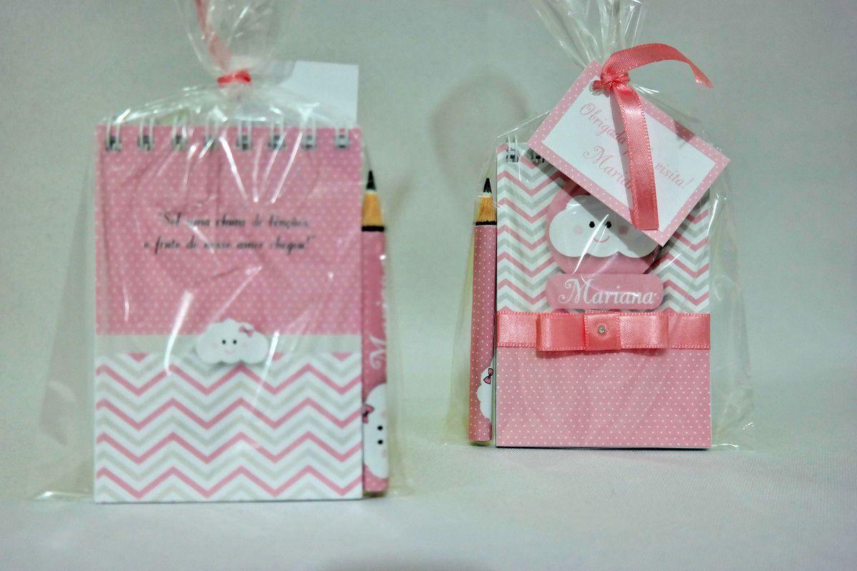 Lembrancinha Infantil - Bloquinho de Anotações Maternidade com Mini Lápis Personalizado