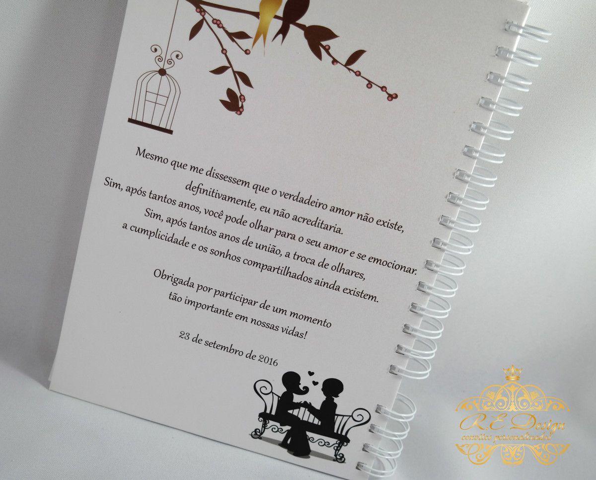 Caderno de Mensagens para Casamento Personalizado