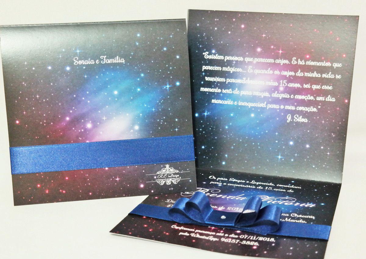 Convite 15 anos Tema Galáxia