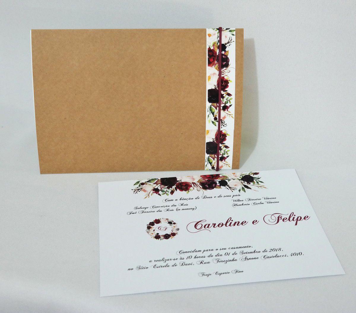 Convite de Casamento Rústico Elegante