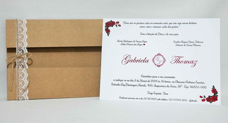 Convite de Casamento Rústico Elegante com Renda