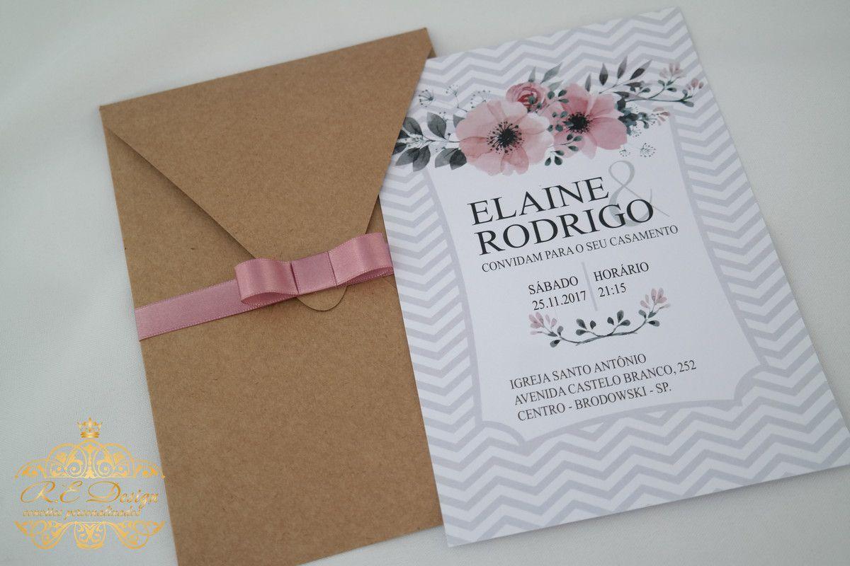 Convite para Casamento com Envelope