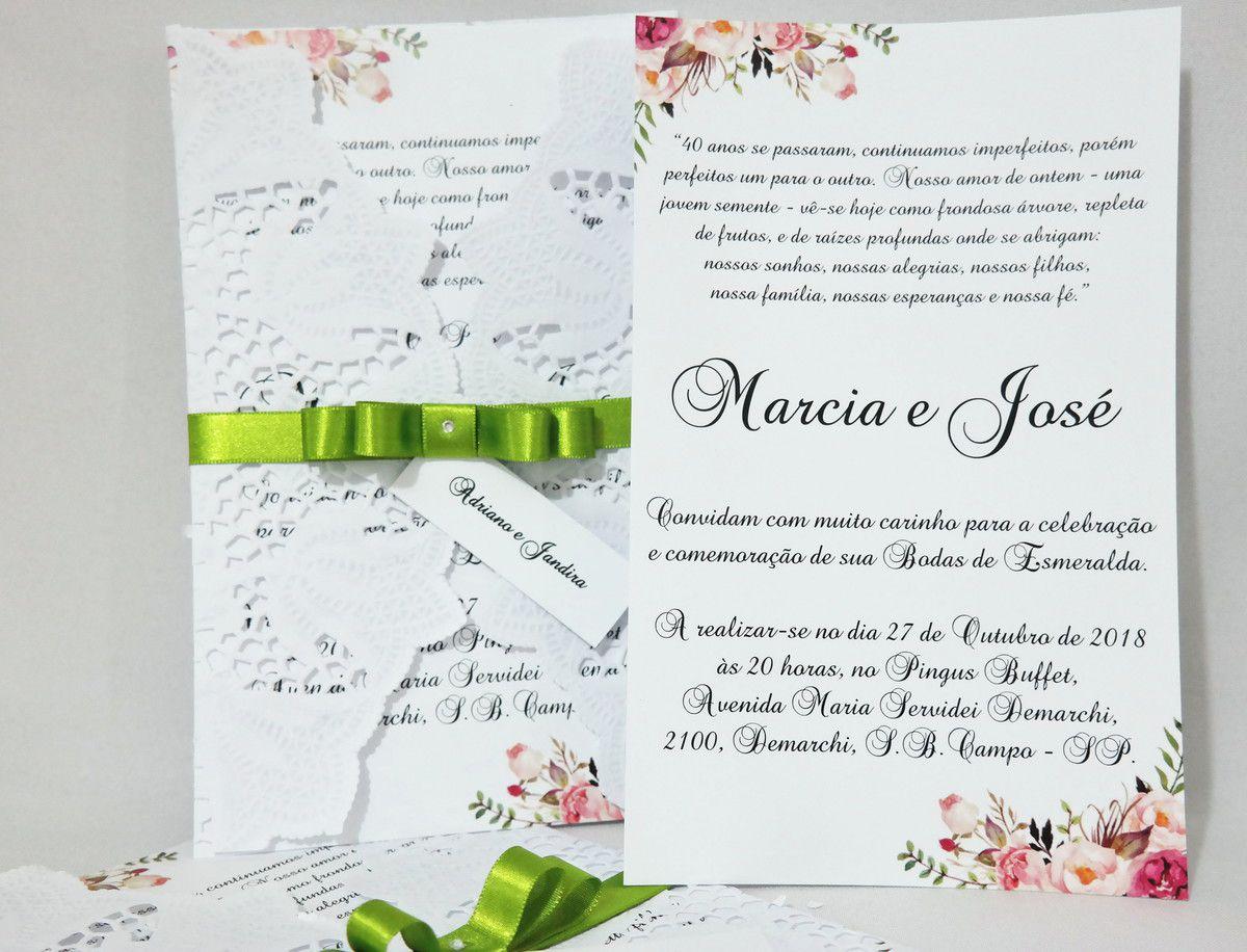 Convite para Casamento Papel Rendado