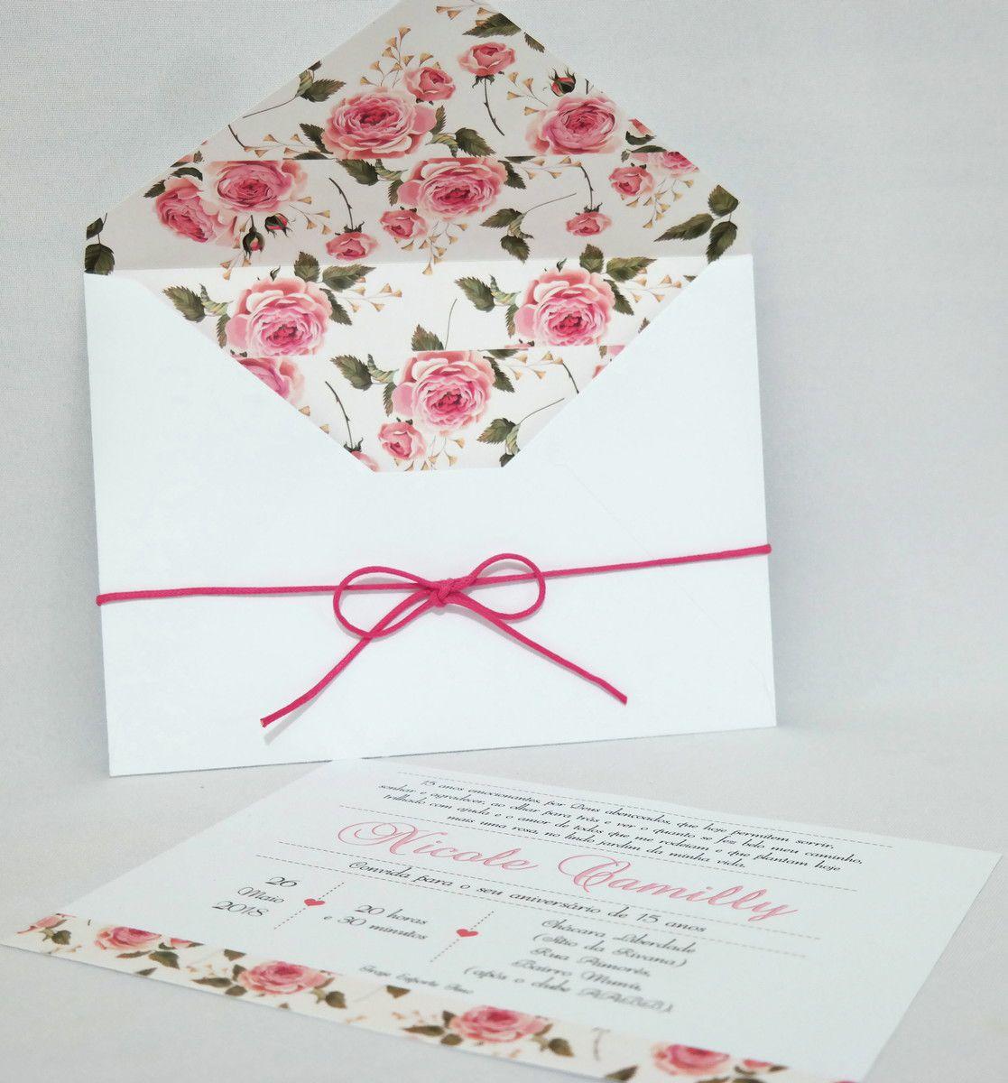 Convite de 15 anos com Envelope