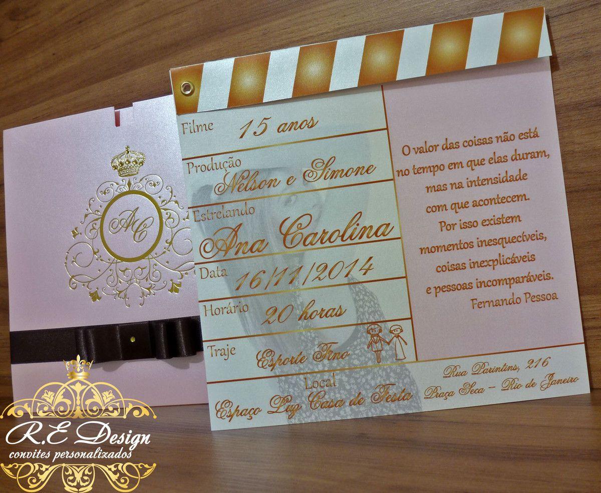 Convite de 15 Anos com Envelope, Hot Stamping e Claquete