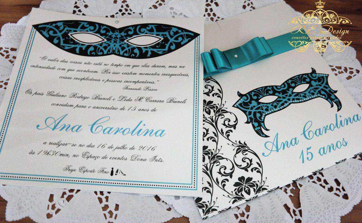 Convite de 15 anos com Envelope Papel Brilhante